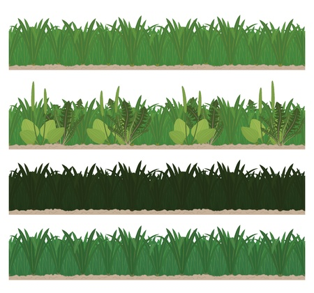 Collection of seamless green grass in different lights