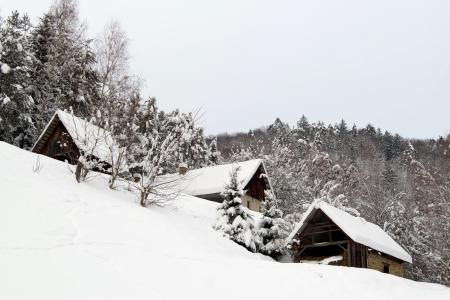 European shepherds cottages in snowy winter photo