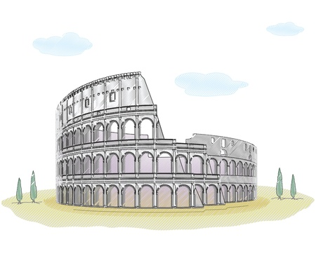 Colosseum - sketch drawing Illustration