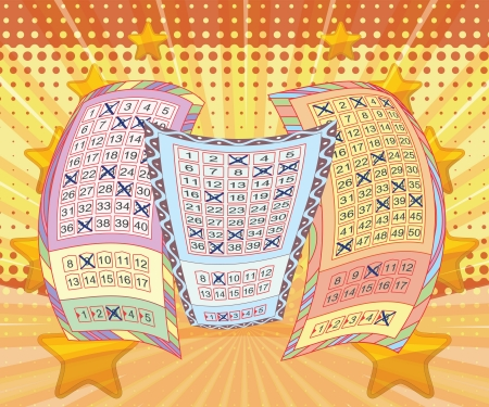 Lottery tickets and vivid background Illustration