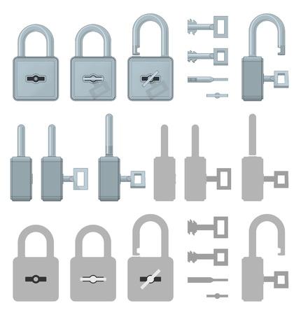 Locked or unlocked padlocks for secure web transaction Stock Vector - 19830019