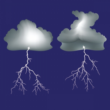 Isolated lightning and dark clouds  Illustration