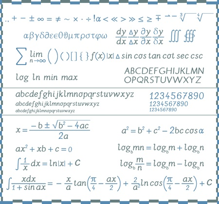 Mathematical symbols, numbers and letters - handwriting Stock Illustratie
