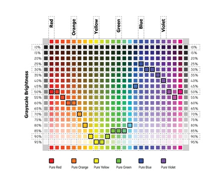 Color values in grayscale equivalents Vector
