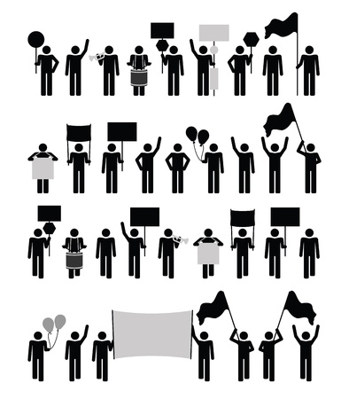 political rally: Протест - коллекция пиктограмма Иллюстрация