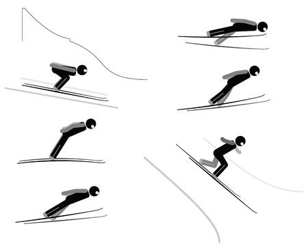 off ramp: Ski jumping - pictogram set