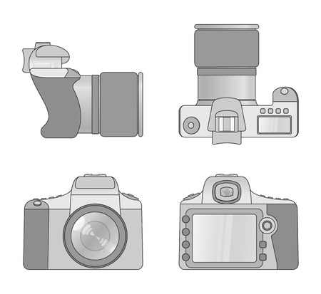 Different views of digital camera 向量圖像