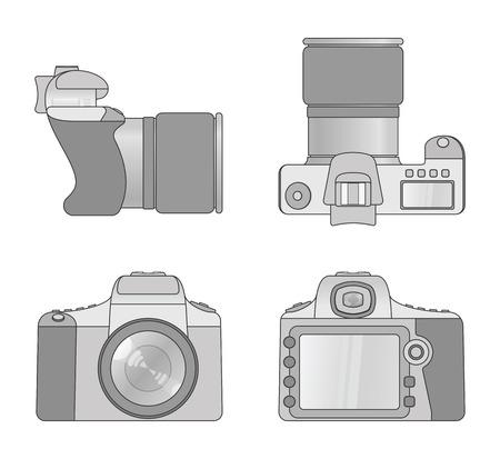 Different views of digital camera Stock Illustratie