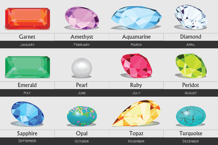 Collection of isolated gemstones by month, no gradients