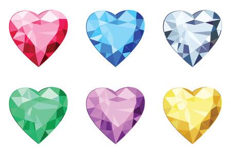 Heart shaped brilliants, no gradients Illustration