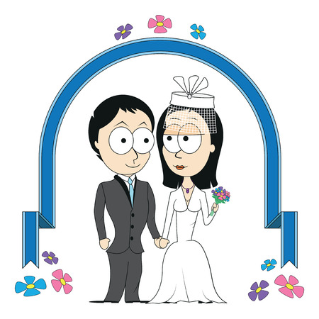 honeymooners: Bride and groom under wedding arch Illustration