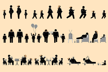 appetite: Obese people and good appetite pictogram