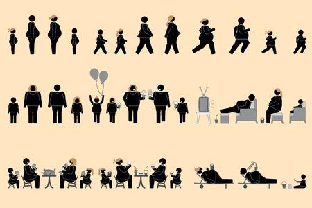 Zwaarlijvige mensen en goede eetlust pictogram Stock Illustratie