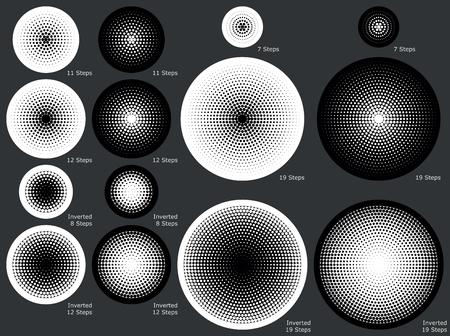milieux de gradient radial solides et en pointillés dans les différentes étapes progressives pour des images vectorielles de eps8 Vecteurs