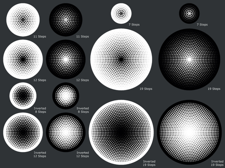 gradual: Solid and dotted radial gradient backgrounds in various gradual steps for eps8 vector images Illustration