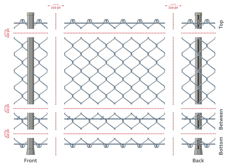 Highly detailed chain-link fence with no gradients, seamless after quick edit Stock Illustratie
