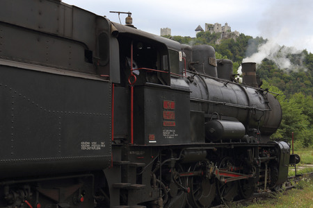 CELJE, SLOVENIA  SEPTEMBER 19, 2015: With the steam train to the Land of Celje, preparations before starting the train journey