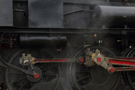 firebox: CELJE, SLOVENIA  SEPTEMBER 19, 2015: With the steam train to the Land of Celje, detailed view of the locomotive