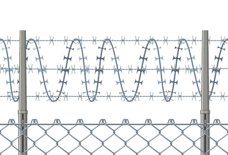 wire fence: Horizontally seamless fence with a razor wire.
