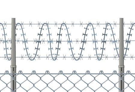 Valla horizontalmente sin fisuras con un alambre de púas. Foto de archivo - 47409076
