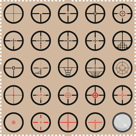 gun shot: Collection of crosshairs