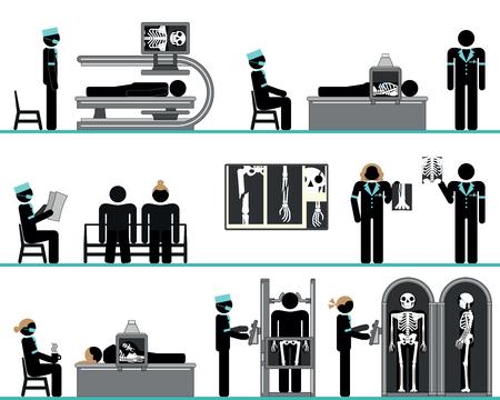 skeleton man: Piktogramm Reihe von radiologischen Abteilung Illustration