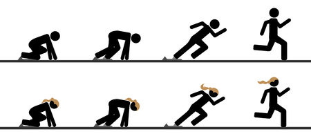 Runners at starting blocks in different phases