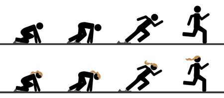 Los corredores en parrilla de salida en diferentes fases