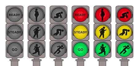 impatient: Traffic lights for running pedestrians Illustration