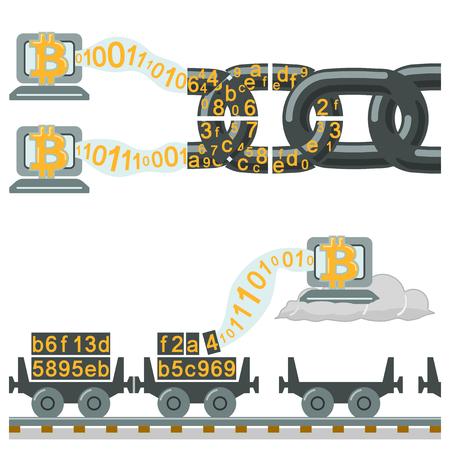 cadenas: La tecnología Blockchain como cadena o vagones de ferrocarril Vectores