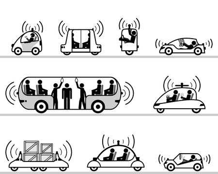 coches de auto-conducción de recogida pictograma