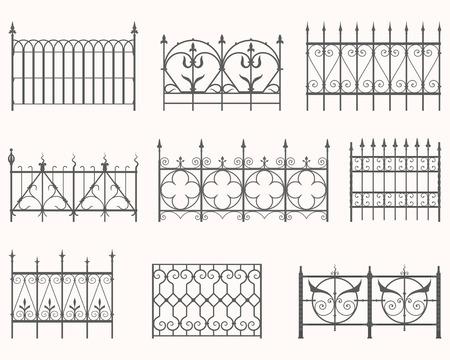 벡터 역사적인 철 울타리를 설정합니다.