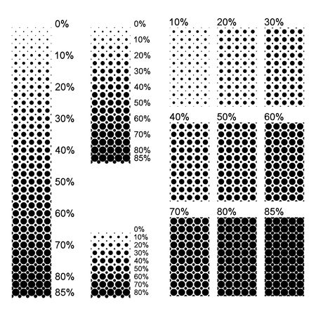 density: Transparent surfaces with different sized opaque dots