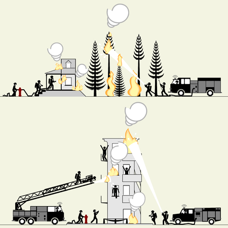 Pictogram of firefighters saving lives and rescuing property
