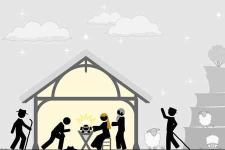 Birth of Christ near the city of Bethlehem  イラスト・ベクター素材