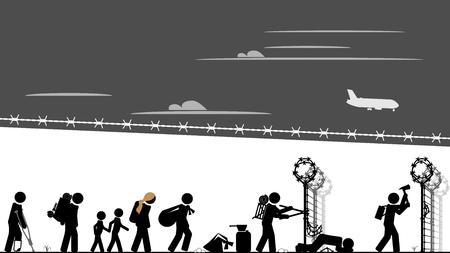 Migrants breach the border fence 矢量图像