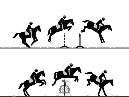 Sequences of horse jumping over obstacles