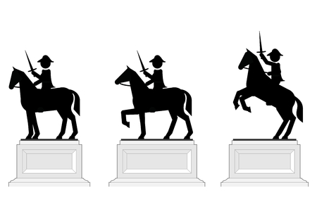 Various poses of pictographic equestrian statues
