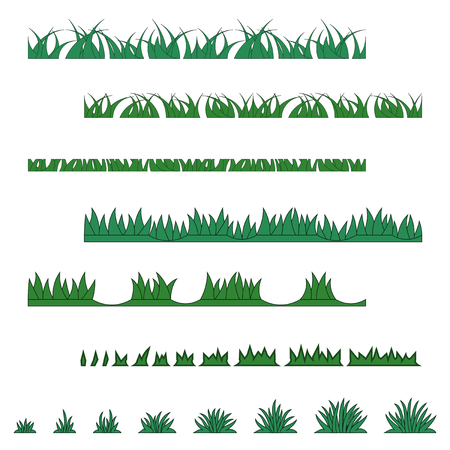 Grass collection of various types Illustration