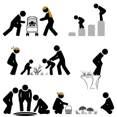 Escena de pictogramas de mirar hacia abajo e inclinarse hacia adelante.
