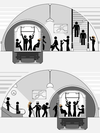 Pictogram scene of classic subway station