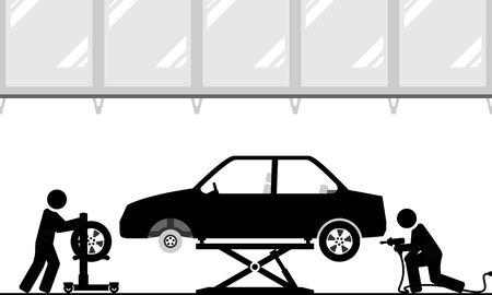 Changing tires in modern workshop Illustration