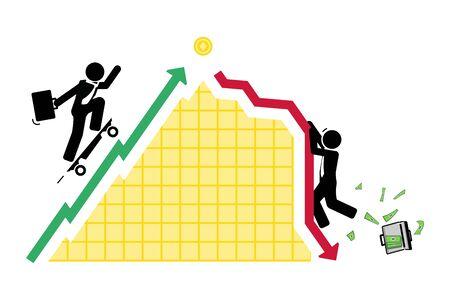 Ruchy cen akcji są nieprzewidywalne Ilustracje wektorowe