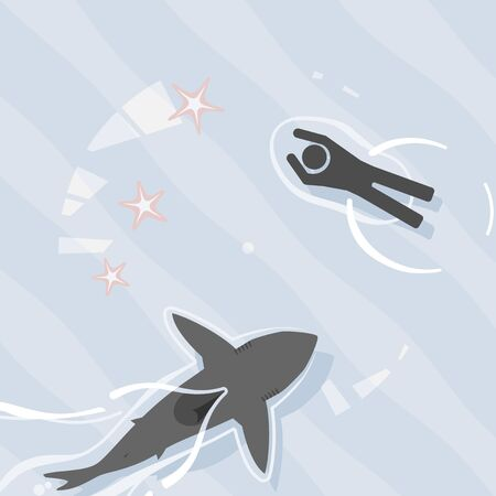 Pictogram scene of shark swimming dangerously close to unaware swimmer