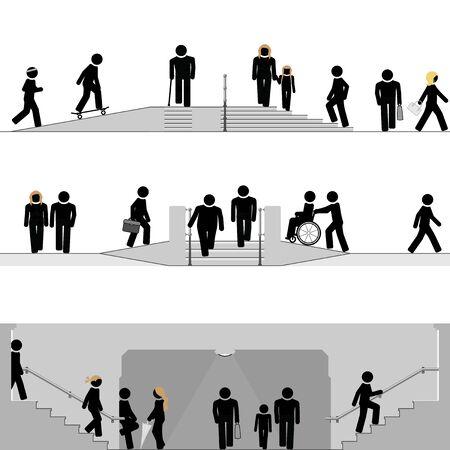 Pedestrian zones in urban scenery