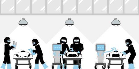 Intensive care unit overwhelmed by novel coronavirus Vektorové ilustrace