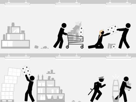 Supermarket panic buying amid emergency fears Vettoriali