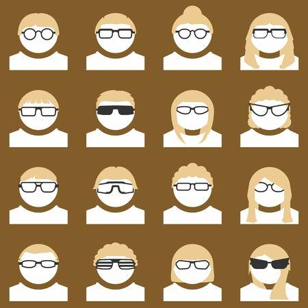 Avatar set of people wearing stylish glasses