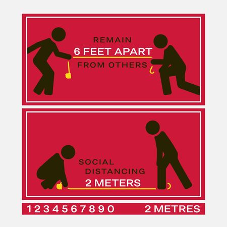 Social distancing signs marked with appropriate physical distance Illustration