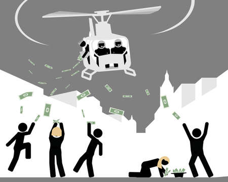Helicopter throwing money to people Illustration